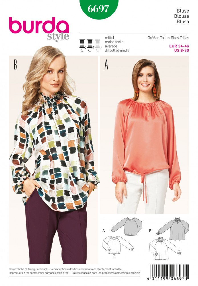 Molto CARTAMODELLI: BURDA - TOP CAMICETTE SHIRT - Mercerie Online Shop  CV79